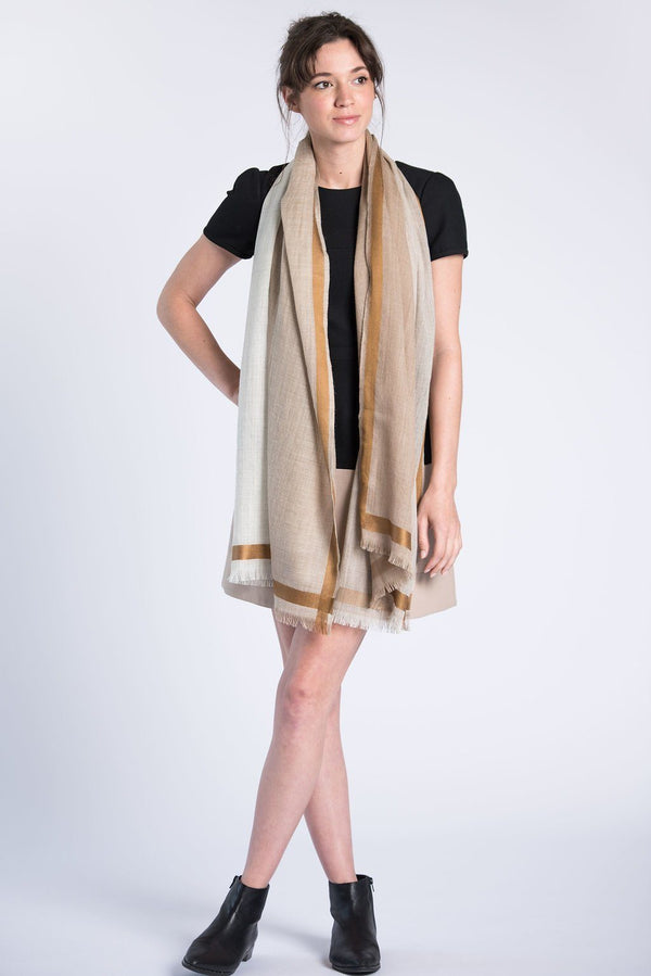 Bloom & Give Tribute Woolen Scarf - Natural Scarves Bloom & Give