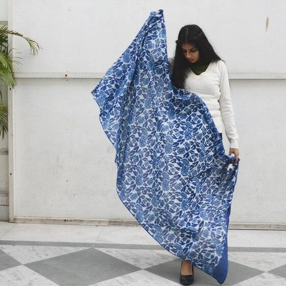 Blue Garden Yan Block Print Scarf Accessories Ichcha