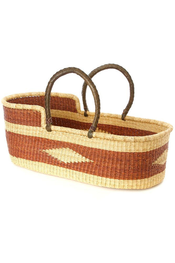Brown Diamond Moses Basket with Leather Handles Swahili African Modern