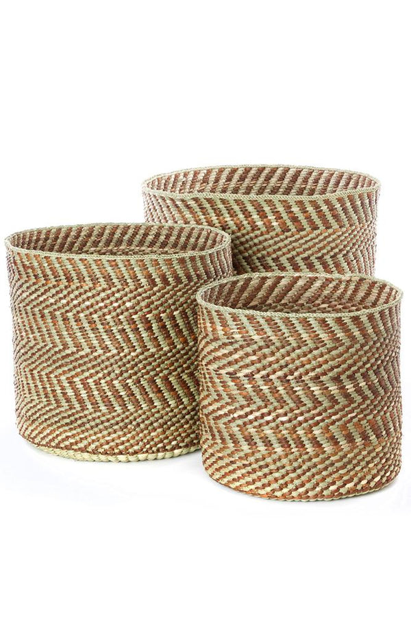 Brown & Natural Maila Milulu Reed Baskets Swahili African Modern