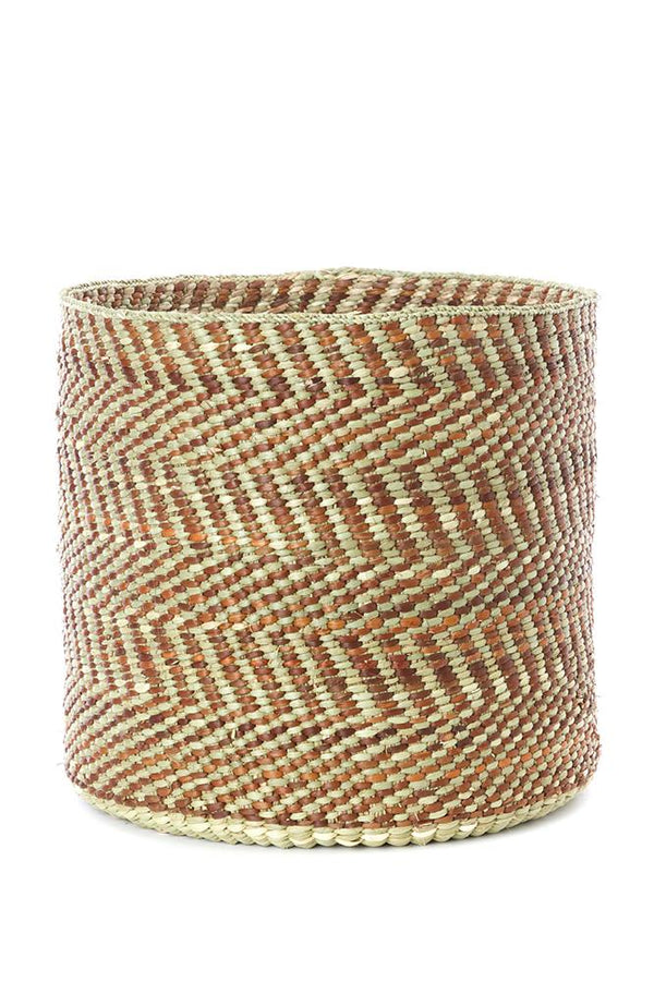 Brown & Natural Maila Milulu Reed Baskets Swahili African Modern Small