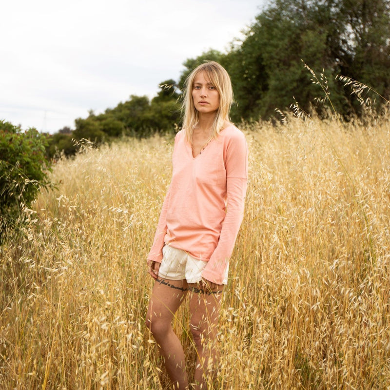 California Cloth Foundry Organic Henley Tee California Cloth Foundry Coral 1