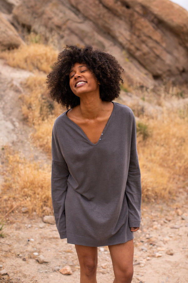 California Cloth Foundry Organic Shift Mini Tunic California Cloth Foundry Charcoal 1