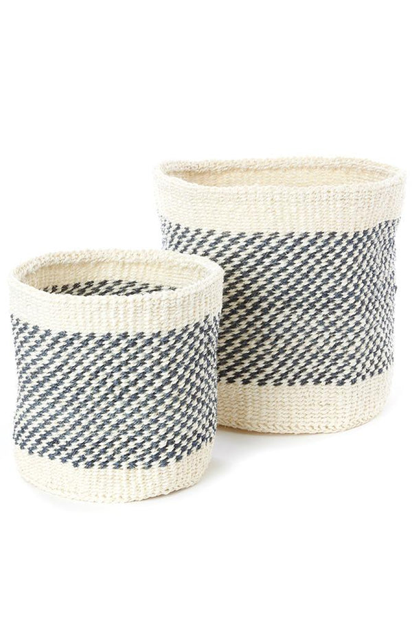 Charcoal and Cream Twill Sisal Nesting Baskets Swahili African Modern