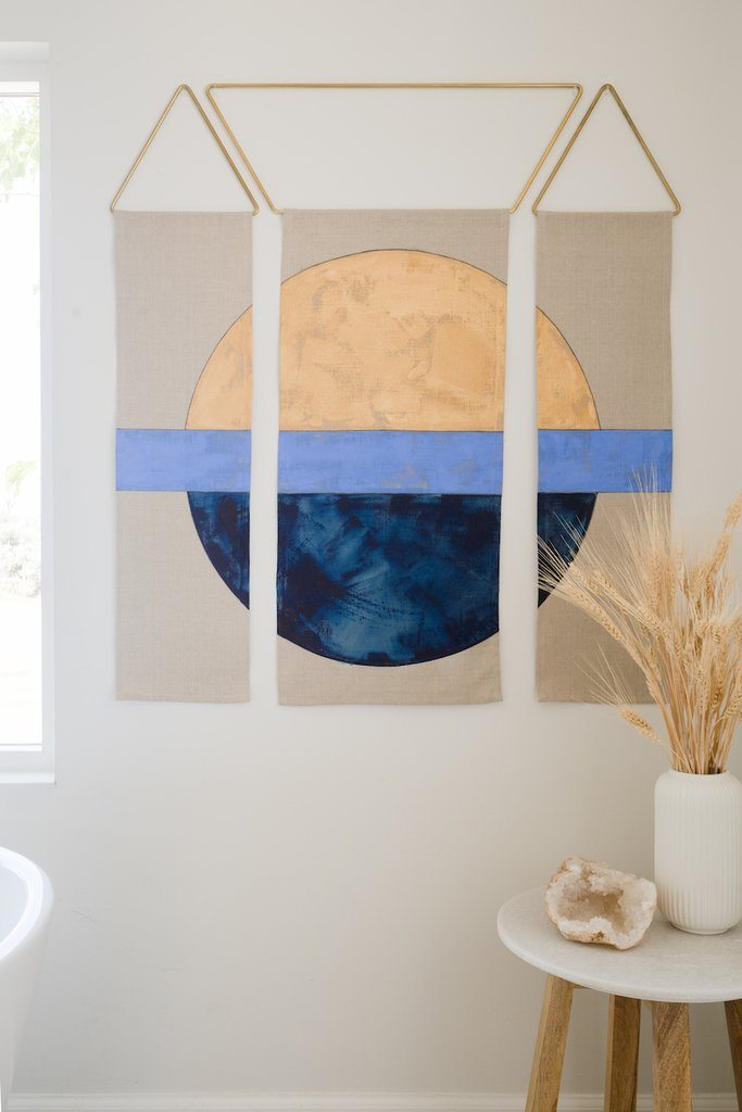 Conejo & Co Mitad Wall Hanging - Gold, Cornflower, and Indigo Home Decor Conejo & Co