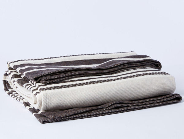 Coyuchi Mariposa Supersoft Organic Cotton Blanket - Bone Multi Stripe Coyuchi
