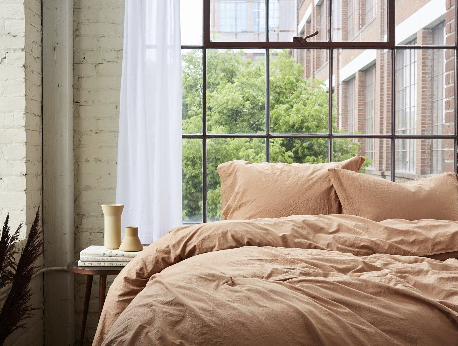 Coyuchi Organic Crinkled Percale Pillowcase - Ginger Bedding and Bath Coyuchi
