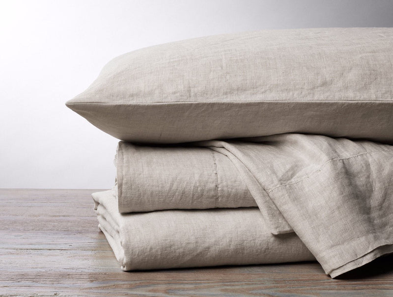 Coyuchi Organic Relaxed Linen Sheet Set - Natural Chambray Bedding and Bath Coyuchi