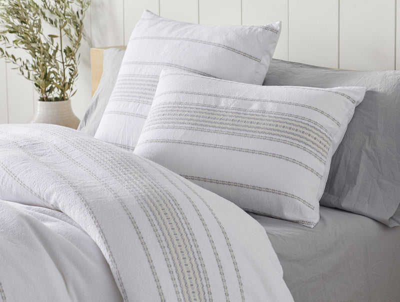 Coyuchi Rippled Stripe Organic Duvet Cover - Alpine White with Pale Gray Coyuchi