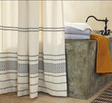 Coyuchi Rippled Stripe Organic Shower Curtain - Ivory with Black Bedding and Bath Coyuchi -15096015290431