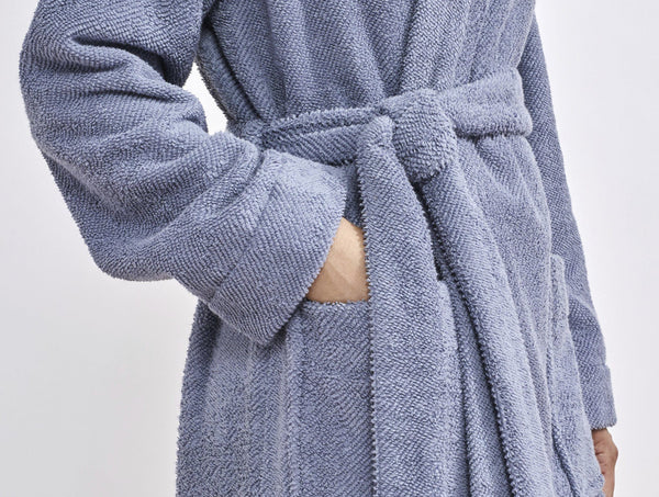 Coyuchi Unisex Air Weight Organic Robe - French Blue Bedding and Bath Coyuchi