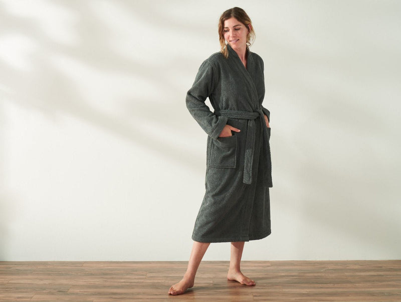 Coyuchi Unisex Air Weight Organic Robe - Shadow Bedding and Bath Coyuchi