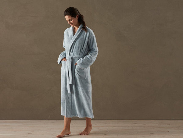 Coyuchi Unisex Cloud Loom Organic Robe - Palest Ocean Bedding and Bath Coyuchi