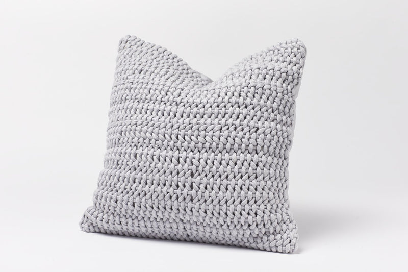 Coyuchi Woven Rope Organic Decorative Pillow Cover - Pewter Bedding and Bath Coyuchi