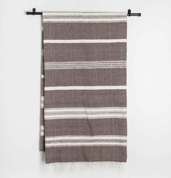 Creative Women Aden Natural Bath Towel - Gray with Natural Creative Women
