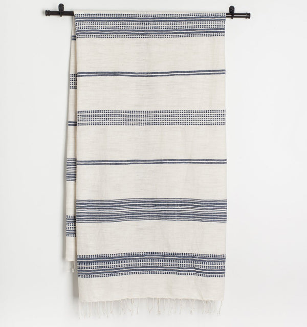 Creative Women Aden Natural Bath Towel - Natural with Navy Creative Women