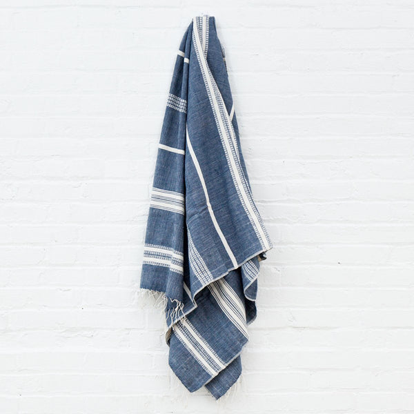 Creative Women Aden Natural Bath Towel - Navy with Natural Creative Women