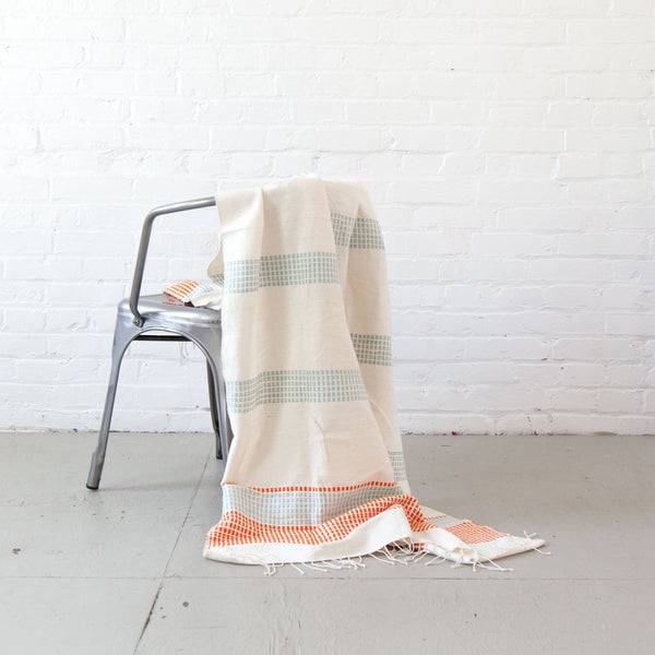 Creative Women Camden Lightweight Blanket - Azure and Tangerine Creative Women