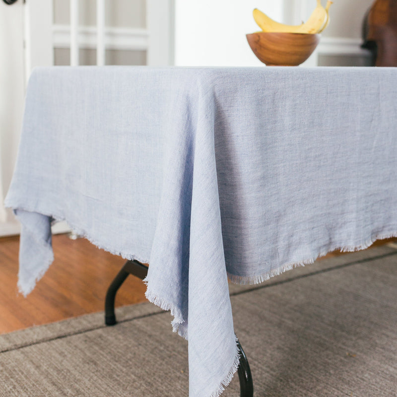 Creative Women Stone Washed Linen Tablecloth - Light Blue Creative Women
