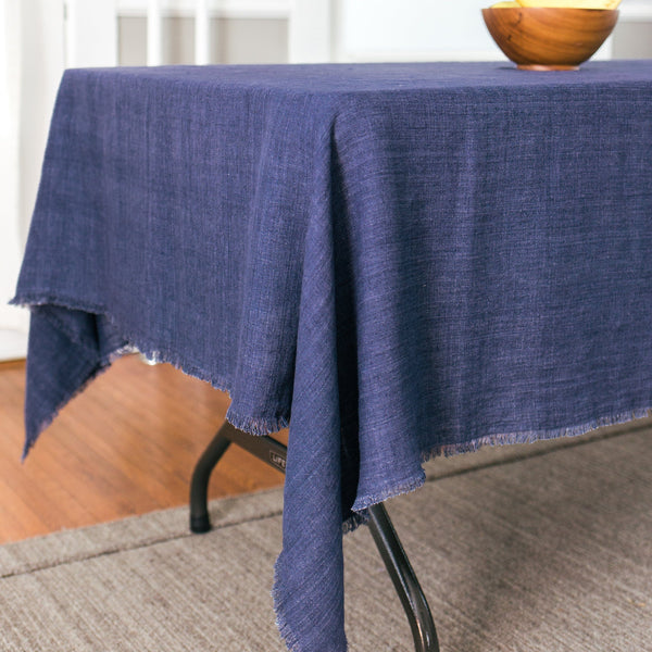 Creative Women Stone Washed Linen Tablecloth - Navy Creative Women