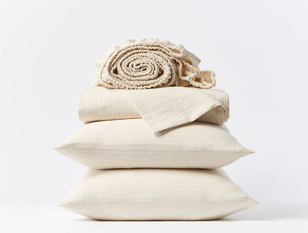 Crinkled Percale Sheet Set - Hazel / Rosehip Bedding Coyuchi
