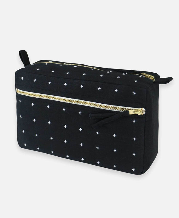 Cross Stitch Toiletry Bag - Charcoal Accessories Anchal Project