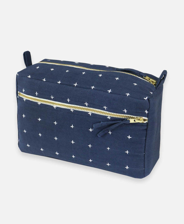 Cross Stitch Toiletry Bag - Navy Accessories Anchal Project