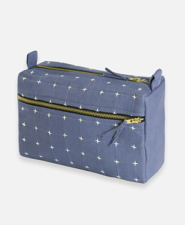 Cross Stitch Toiletry Bag - Slate Accessories Anchal Project