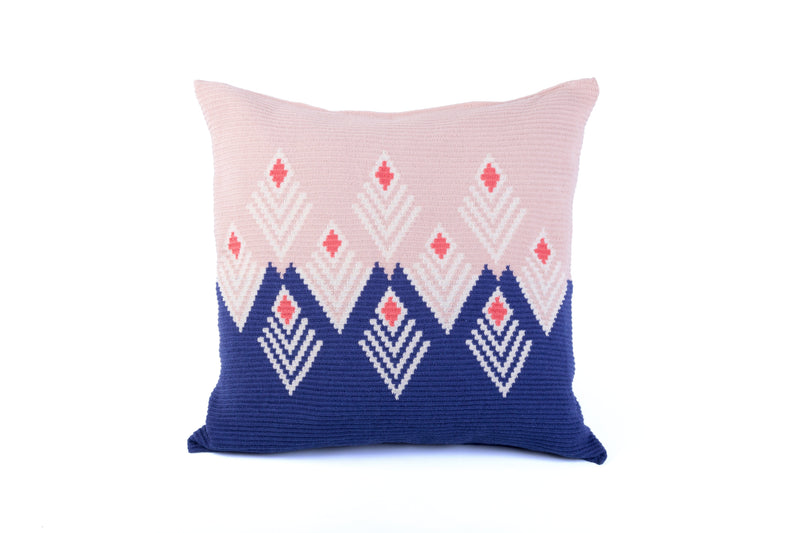 D.A.R. Projects Large Ultra-Fine Crochet Cushion- Coral with Ultra Marine D.A.R. Proyectos