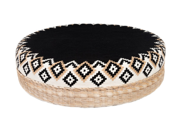 D.A.R. Projects Round Textile and Grass Pouf- Black with Cream Made Trade