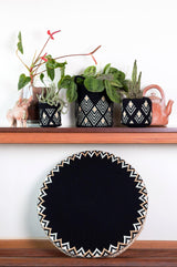 D.A.R. Projects Round Textile and Grass Pouf- Black with Cream Made Trade-5260215484479