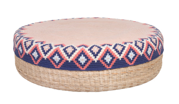 D.A.R. Projects Round Textile and Grass Pouf- Coral with Ultramarine Made Trade
