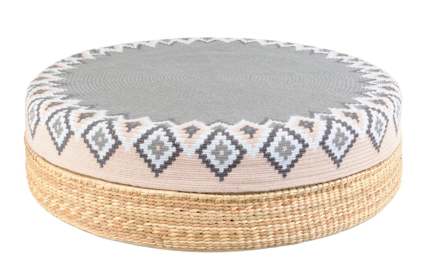 D.A.R. Projects Round Textile and Grass Pouf- Gray with Beige and Sky D.A.R. Proyectos