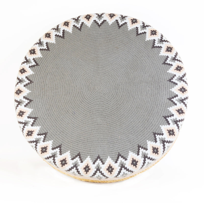 D.A.R. Projects Round Textile and Grass Pouf- Gray with Beige and Sky Made Trade