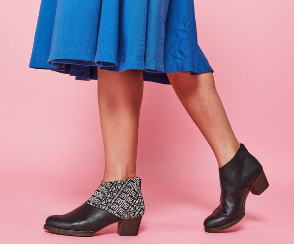 Darzah Ankle Boot in Black and Ecru Darzah
