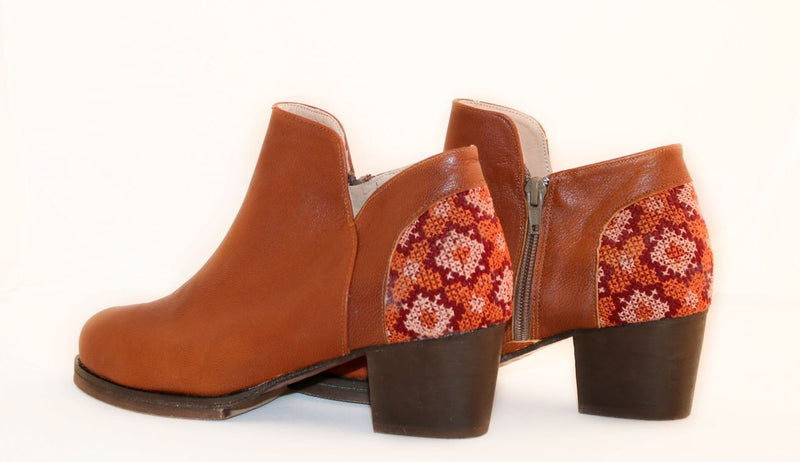 Darzah Tatreez Ankle Boot in Brown Shoes Darzah