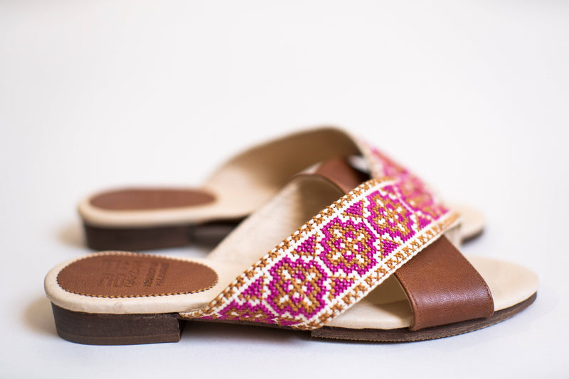 Darzah The Tatreez Cross Sandal in Berry Darzah