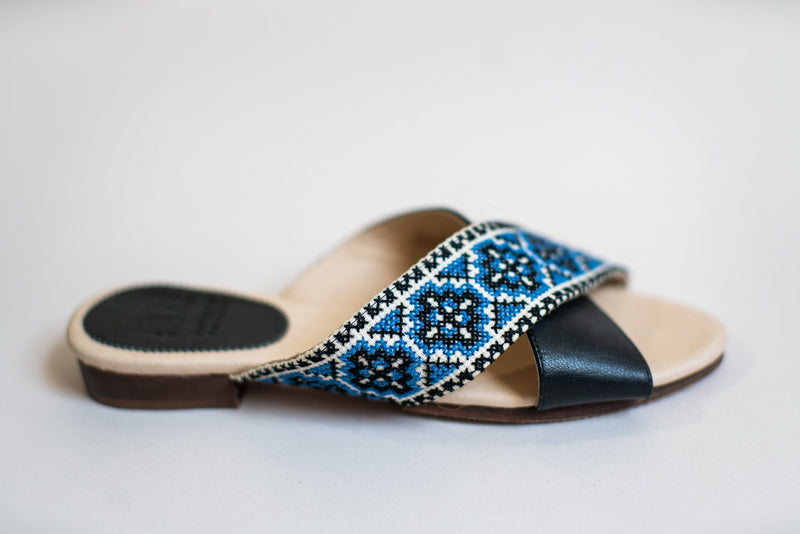 Darzah The Tatreez Cross Sandal in Blue Darzah