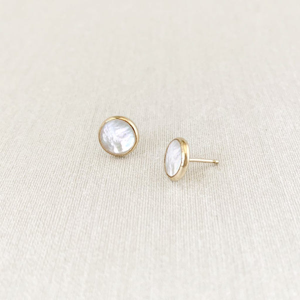 Deep Stud Earrings - Mother of Pearl Earrings Sara Patino Jewelry