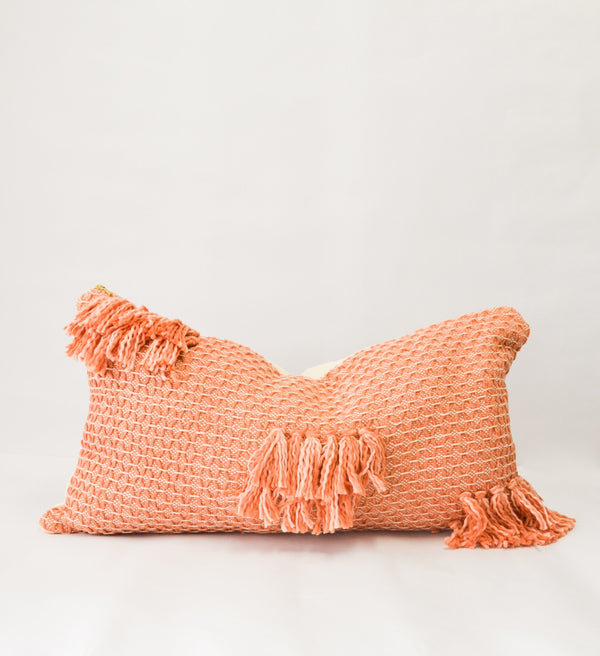 Diamond Guayaba Organic Cotton Lumbar Pillow Cover with Tassels Zuahaza