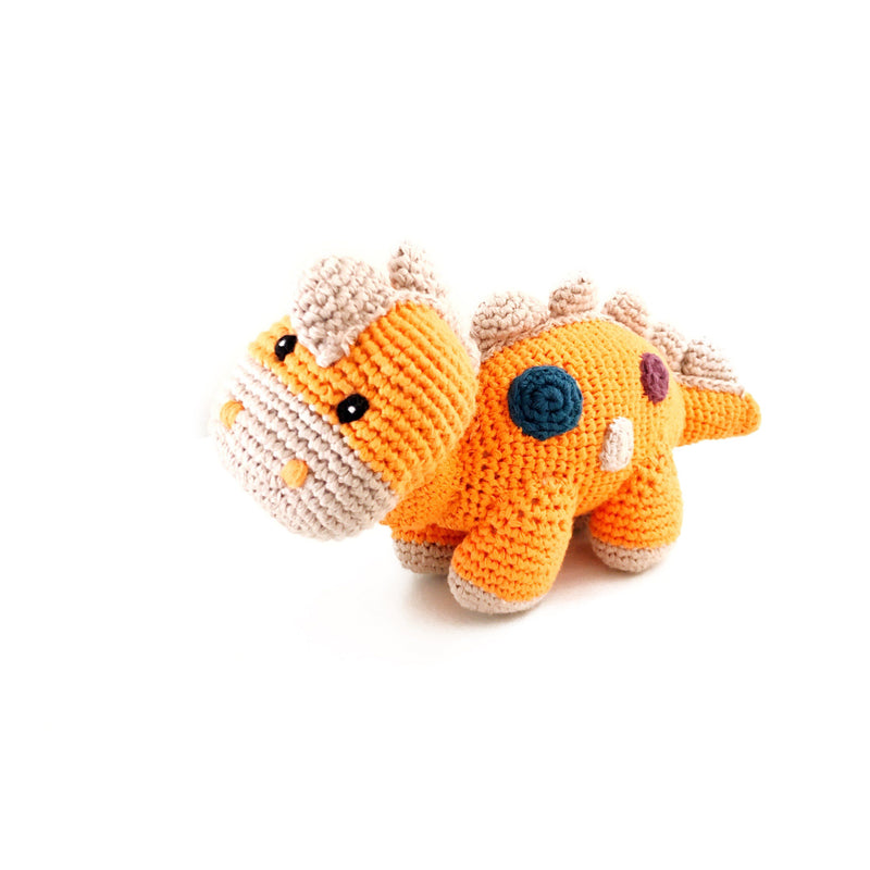 Dino Rattle Baby Pebble Orange