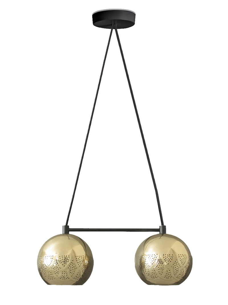 Dounia Home Nur Reversed Chandelier - Duel Globe - Copper Chandelier Dounia Home