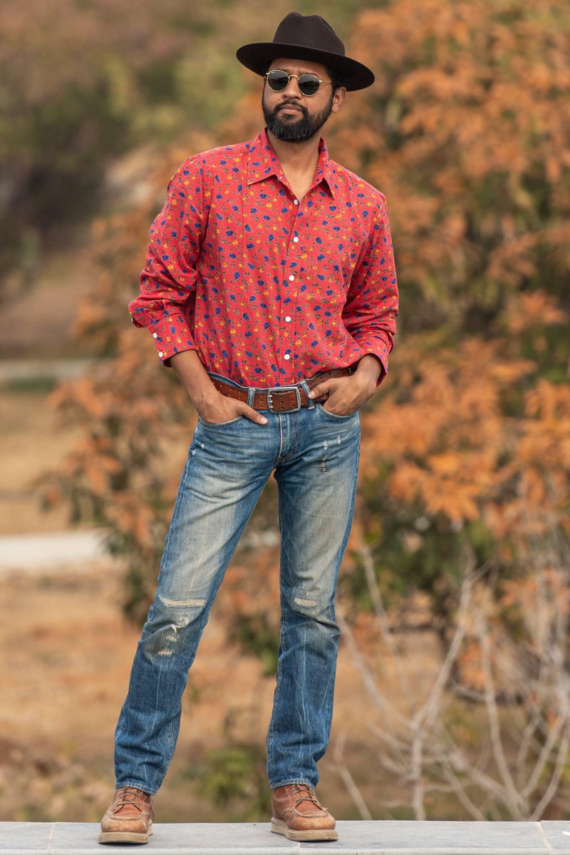 Dushyant Asthana Hand-Printed 'The Barrington' Full Sleeve Shirt in Maroon Floral Print Shirts Dushyant Asthana