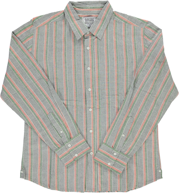 Dushyant Asthana 'The Amir' Long Sleeves Shirt in Green Stripes Hand-loomed Fabric Shirts Dushyant Asthana