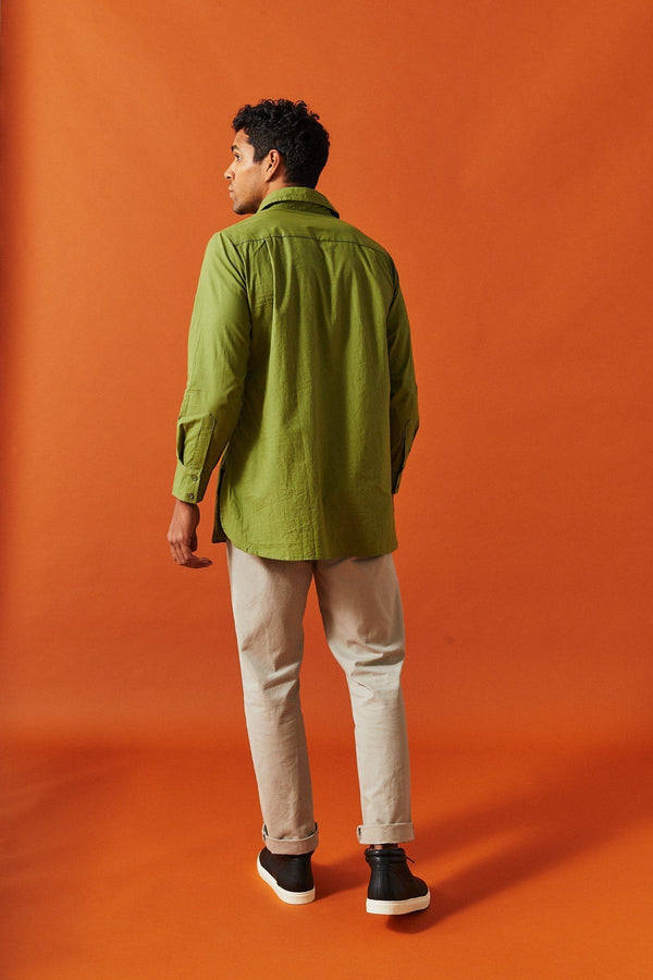 Dushyant Asthana 'The Kameez' Oversized Garment Dyed Shirt in Light Olive Shirts Dushyant Asthana