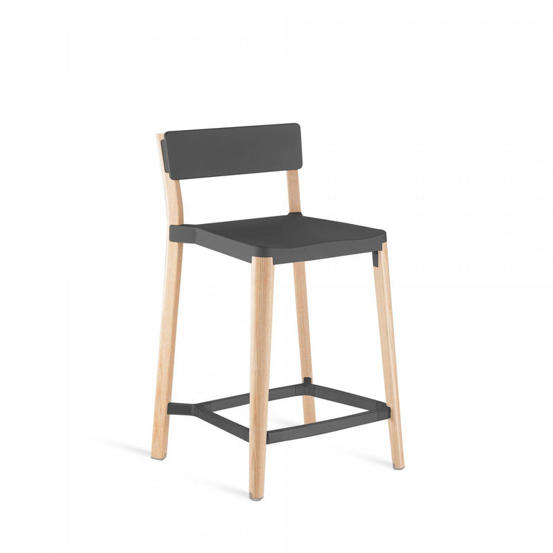 Emeco Lancaster Counter Stool Emeco Dark Gray Powder Coat Ash