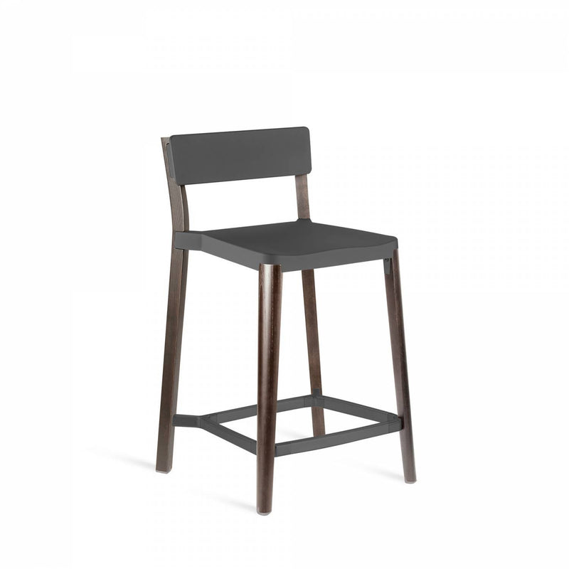 Emeco Lancaster Counter Stool Emeco Dark Gray Powder Coat Dark Ash