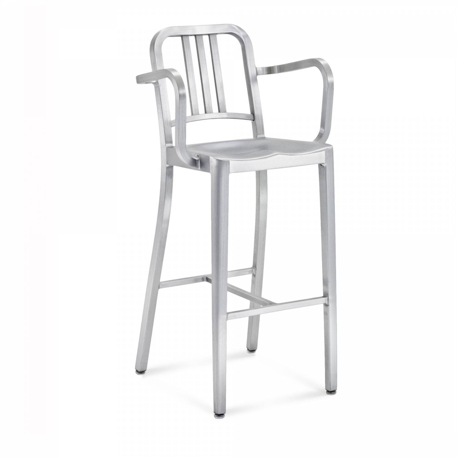 Emeco Navy® Barstool With Arms Emeco Brushed