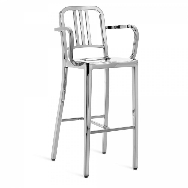 Emeco Navy® Barstool With Arms Emeco Polished