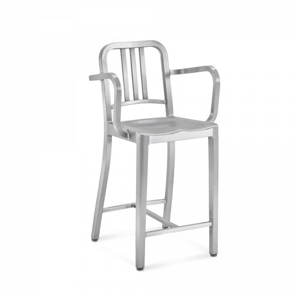 Emeco Navy® Counter Stool With Arms Emeco Brushed